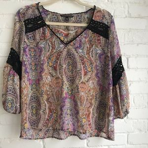 Victoria Secret Bell Sleeve Sheer blouse Top Small